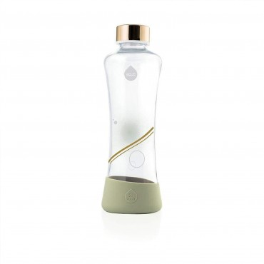 Glass Water Bottle Equa Squeeze Metallic Gold 550ml
