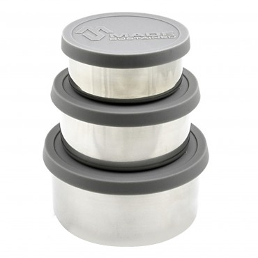 Made Sustained Grey Round Stainles lunchboxes