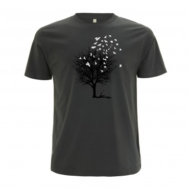 Yoki Attitudes // Birds On A Tree - Men's Unisex Dark Grey T-shirt  (Organic Cotton)