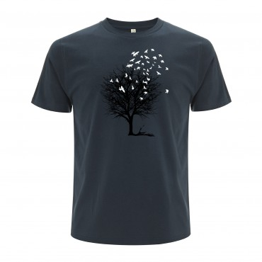 Yoki Attitudes // Birds On A Tree - Men's Unisex Denim Blue T-shirt  (Organic Cotton)