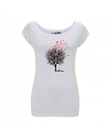 Yoki Attitudes // Birds On A Tree - Women's White T-shirt  (Organic Cotton & Viscose Bamboo)