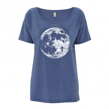 Yoki Attitudes // Moonwalker - Women's Fade Denim T-shirt  (50% Οrganic Cotton & Tencel)