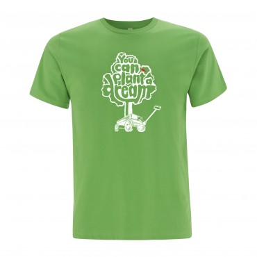 Yoki Attitudes // You Can Plant A Dream - Men's Unisex Light Green T-shirt  (Organic Cotton)